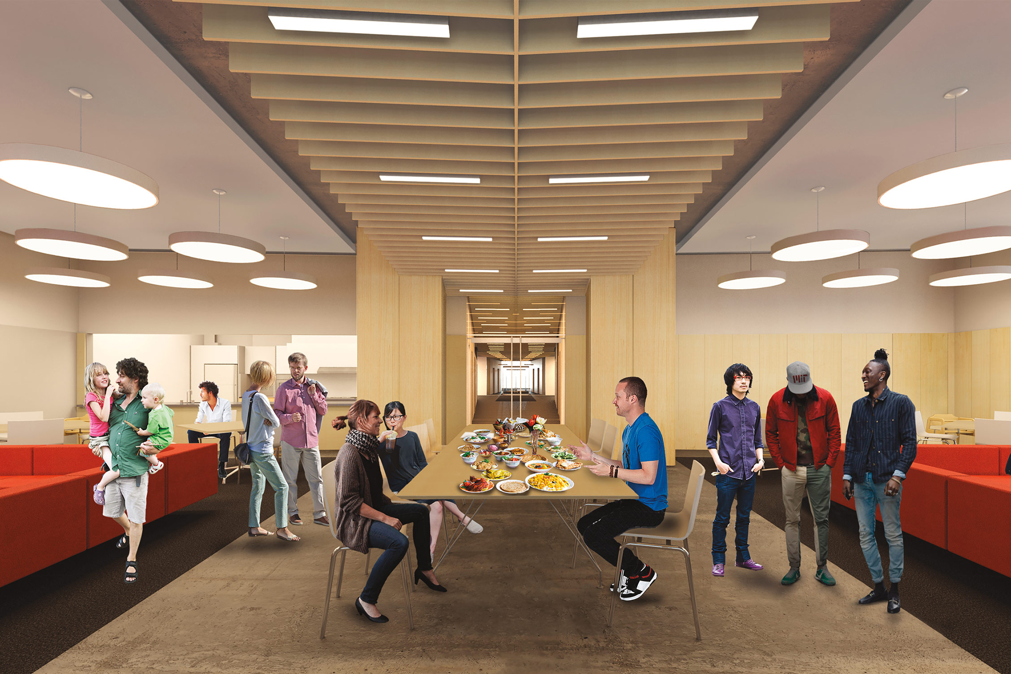 Rendering of a 4th floor commons lounge