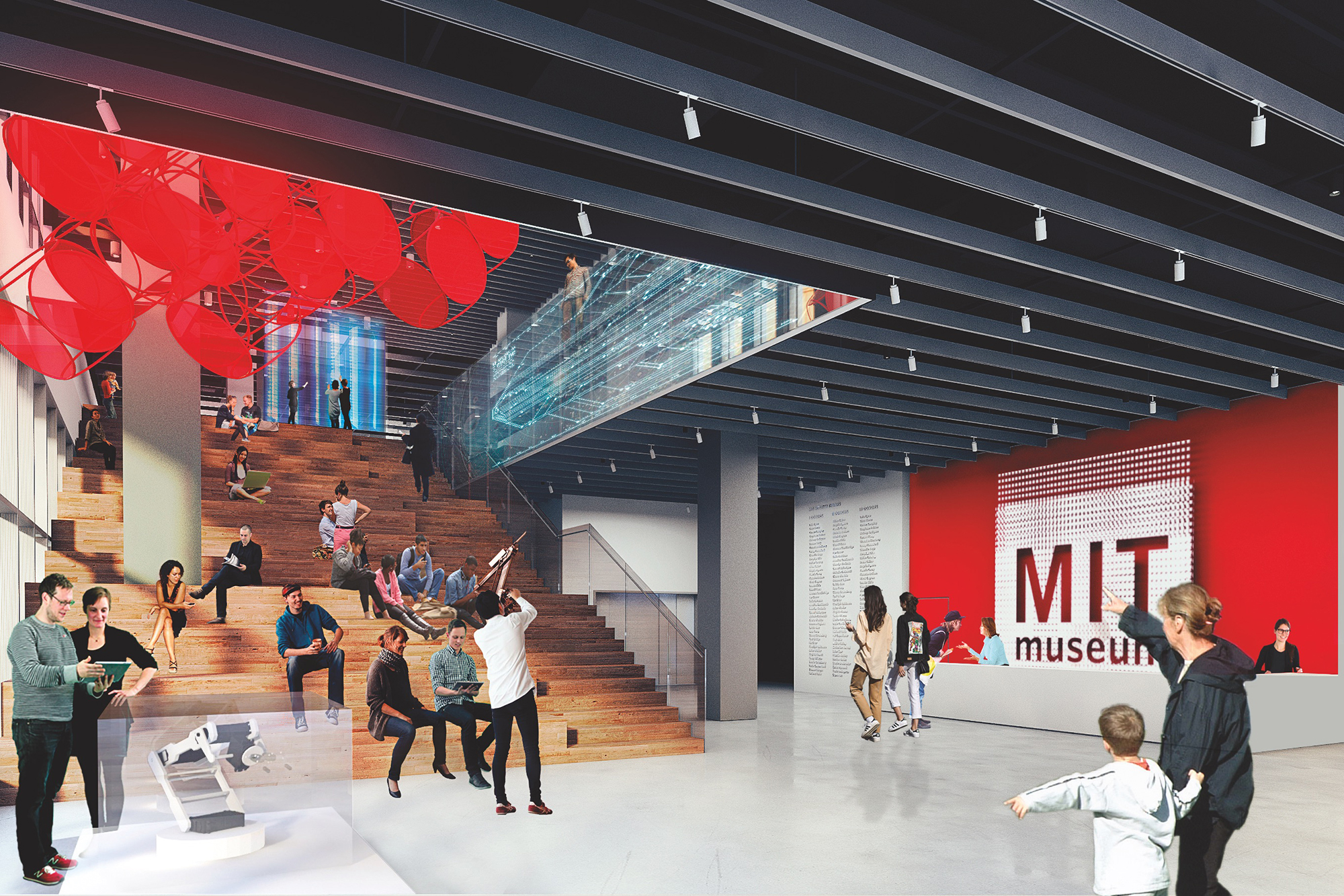 Rendering of new MIT Museum lobby