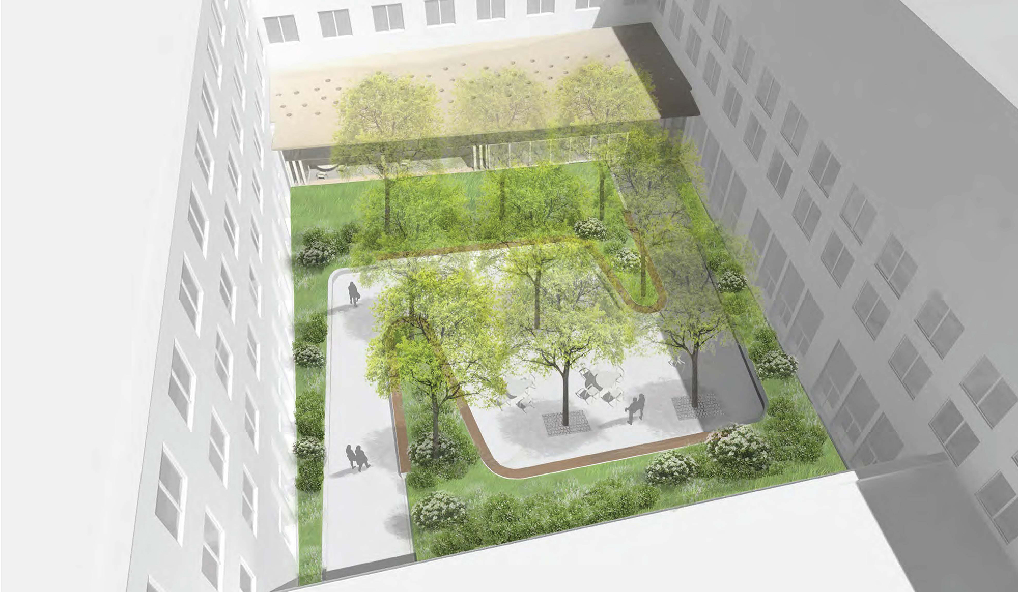 Aerial view of proposed courtyard. Image: KVA