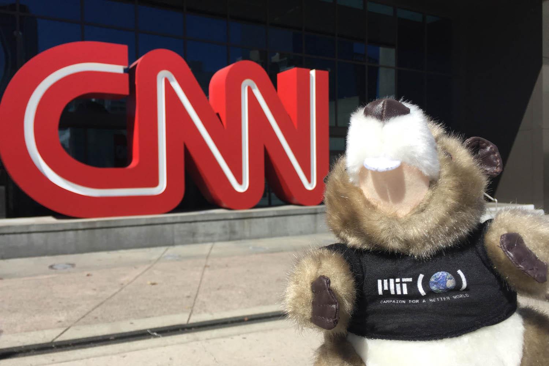MIT's Tim in front of the CNN building in Atlanta