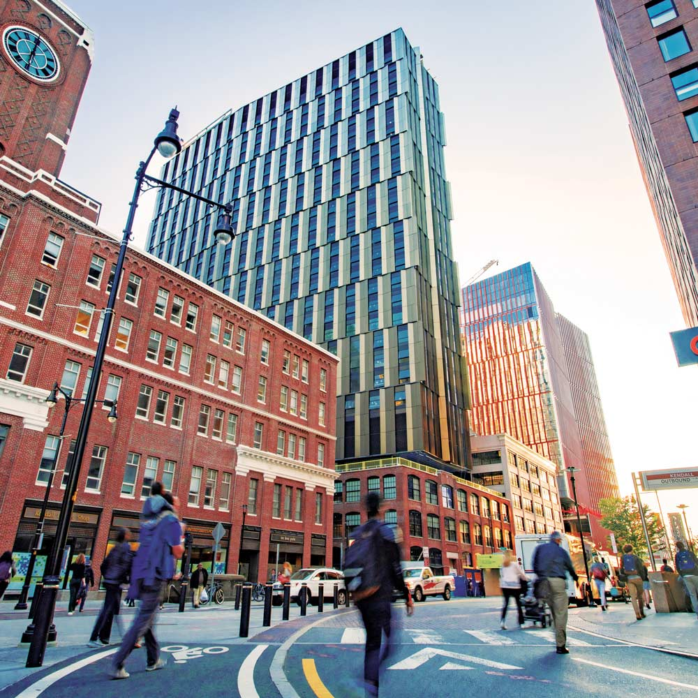 Image of Kendall Square showing the MIT Graduate Tower.
