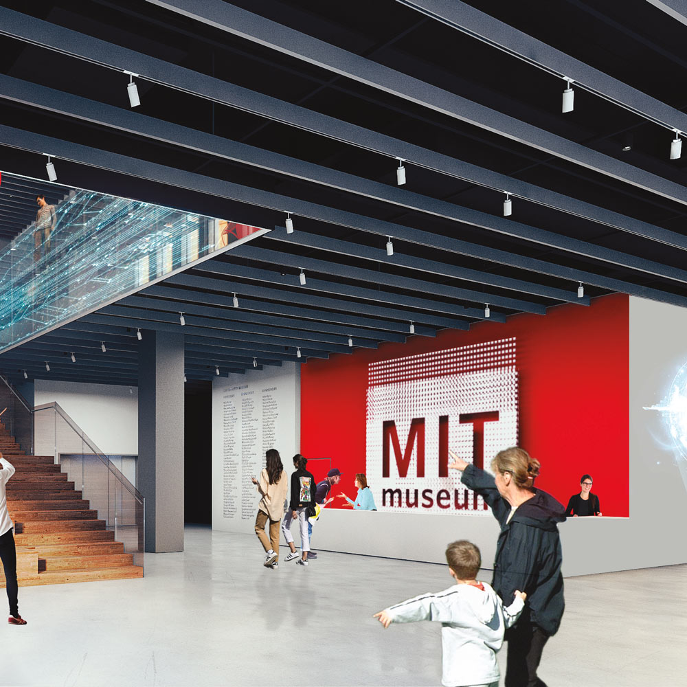 Rendered image of the MIT Museum lobby.